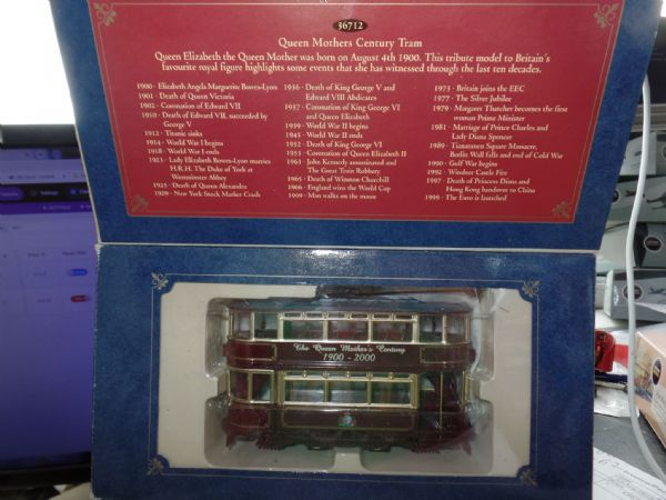Corgi 36712 1/72 Scale Fully Closed Tram Queen Mothers Centenary Purple & Gold